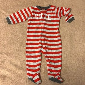 Carter's 6-9 month zip up red/gray stripe pjs
